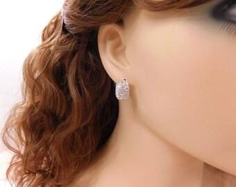 Pave Rhinestone Earrings Half Hoop Earrings Silver Crystal Stud Earrings Vintage Rhinestone Pave Silver Earrings Jewelry