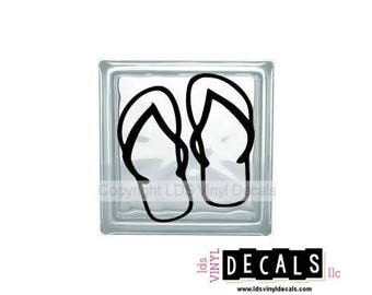 Flip Flops - Beach and Summer Vinyl Lettering for Glass Blocks - Craft Decals