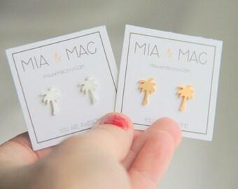 Palm Tree earrings, Gold earrings, Small Tree Earrings , Minimalist Gold Jewelry, Bridesmaid Gift, Gold Earrings, Modern Jewelry