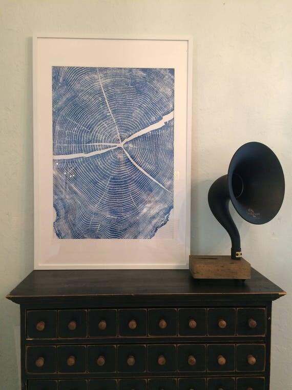 Framed tree ring art, blue tree ring print, Fixer upper art, large tree ring art, tree stump art, Christmas Tree art, Nature inspired art