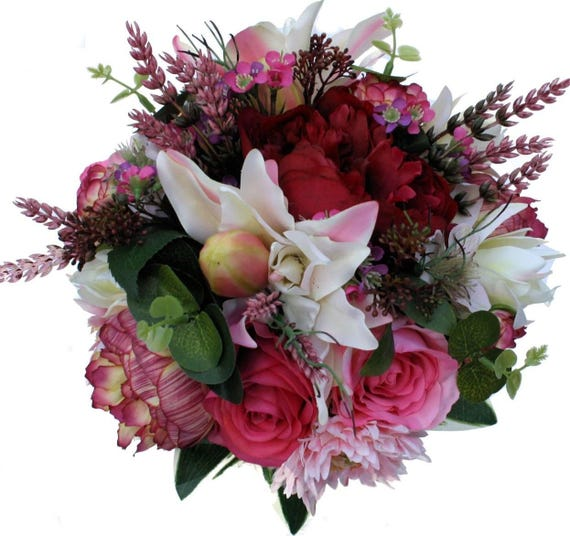 Wedding Bouquet Package - Burgundy, Pink Spring Flowers for Bride & 2 Bridesmaids with Buttonholes