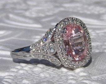 GIA Certified Untreated Peachy Pink Cushion Sapphire in White Gold Iris Diamond Halo Engagement Ring, Pink Sapphire Engagement Ring