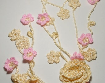 Crochet necklace Lariat, Crochet Necklace with Flowers and Leaves, gentle jewelry, flower scarf, Skinny scarf, Pink, Cream, Mori Girl