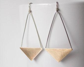 Dangle Earrings - Triangle Dangle Hook Earrings - Gold and Silver Long Dangle Earrings - Triangle Earrings