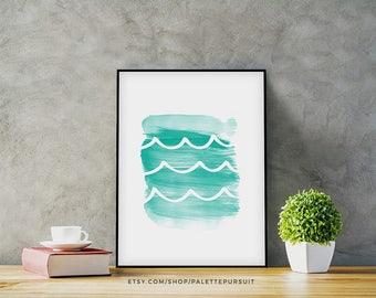 Printable Nursery Decor, Mermaid Beach Wall Art, Watercolor Art, Home Decor, Bathroom Wall Decor, Aqua Waves, Ocean Art Instant Download