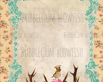 BubblegumBlowfish pretty vintage paper by the sheet flowers crowned bird Digital art Download