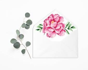 Envelope Liner - Wedding Liner Envelope - Wedding Envelope - Envelope Liner - Floral Envelope Liner - Peonies envelope liner - Peonies liner