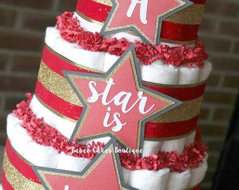 3 Tier A Star Is Born Diaper Cake, Hollywood Diaper Cake, Red Black Gold Baby Shower, Hollywood Star, Neutral, Red Carpet