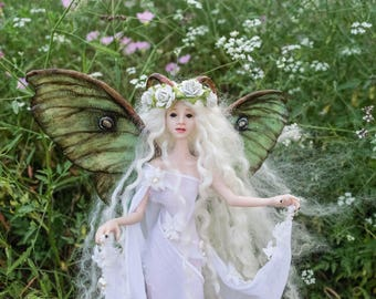 OOAK Fairy Art Doll Sculpture // Cerridwen // Mother's Day // Gifts for her // Magic Faerie wings // Polymer clay // Luna Moth