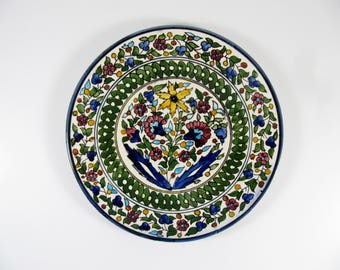 Vintage ARMENIAN Ceramic Plate, Multi-Colored Hand-Painted Floral Design, 21 cm