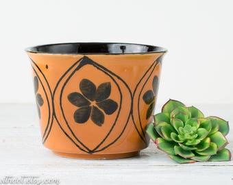 Vintage Orange Flower Pot - Mid Century Planter - Ceramic Planter