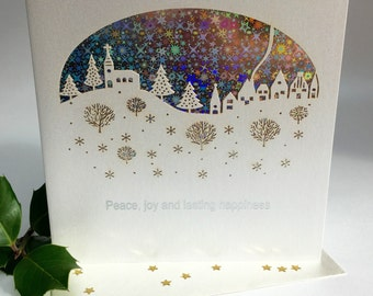 Christmas Card Laser Cut Delicate Cut Quality Heavy Board with Foiled Insert Christmas Trees Forest christmas Sparkle (3649)