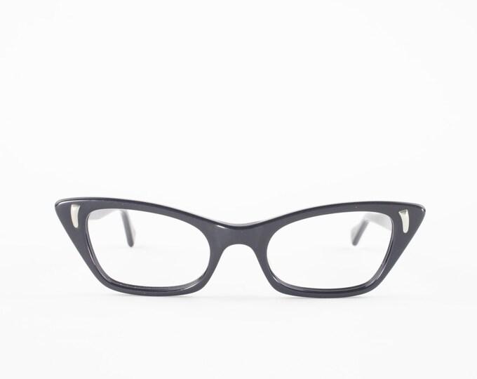 60s Vintage Cateye Eyeglasses | 1960s Black Cat Eye Eyeglass Frame | NOS Eyeglass Frame | Deadstock Eyewear - Saarinen