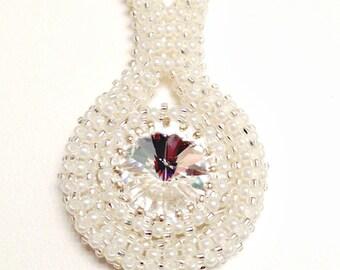 Crystal Bridal Necklace, Bridal Jewelry, Crystal Necklace, Wedding Jewelry, Snow Crystal Necklace, White Crystal Necklace, Winter Wedding