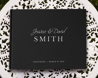 Wedding Guest Book, Black Wedding Guestbook, Guest Book Wedding, Large Wedding Guest Book, GB 075