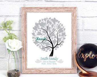 Personalized Family Tree Art, 10 Year Anniversary Gifts For Her, 25th Anniversary Gift Personalized Family Tree Print, 1st Anniversary Gift