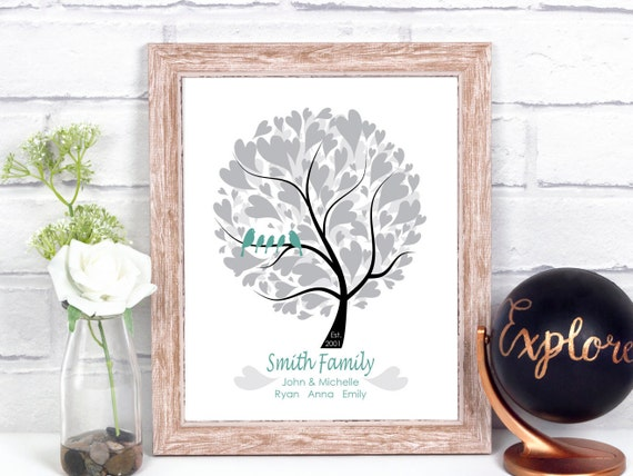 Modern family tree print family tree personalized art 25th for Modern family printer