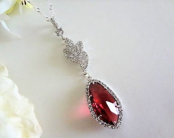 Red Crystal Necklace Red Wedding Red Bridesmaid Necklace Red Bridal Jewelry Mother of Groom Bride Necklace Red and Silver Necklace Formal