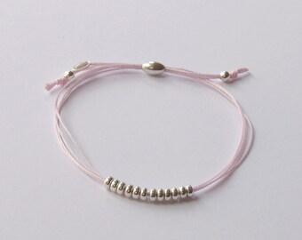 Sterling silver pink silk cord friendship bracelet, bead and pink cord bracelet, pink silk cord bracelet, stacking bracelet, minimalist, BFF