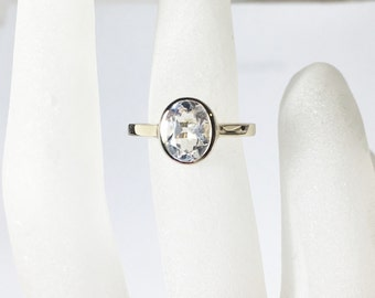 14K Gold White Topaz Ring, oval cut, Ready to Ship, Size 5.25, Stackable