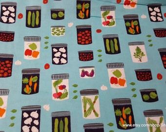 Flannel Fabric - Veggie Filled Mason Jars - 1 yard - 100% Cotton Flannel