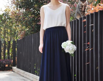 High Waist Dark Blue Skirt / Elegant Maxi Skirt / Chiffon Wedding Skirts / Summer Event Skirt /Floor Length Long Skirt (108), #18