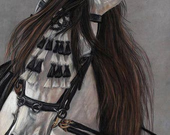 Beauty in Hand - Spanish Andalusian Horse Painting