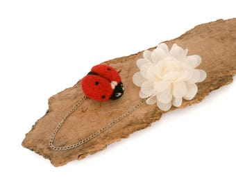 Ladybug and Flower Double Brooch, Needle Felted red ladybug brooch, Organza flower brooch, Collar brooch, Cardigan brooch, Gift for women