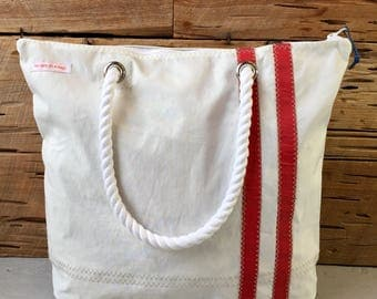 Recycled Sail With Red Stripes