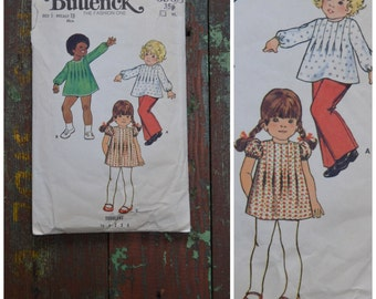 Vintage Pattern, 1960's / 70's sewing pattern, Butterick 6968, Toddlers dress top and pants, printed paper pattern, Baby girl dress pattern