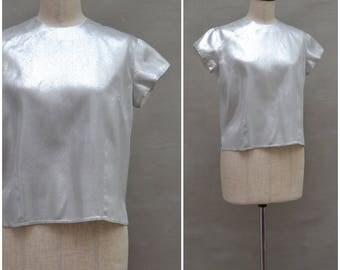 Vintage Blouse, 1960's metallic silver blouse, short sleeves shirt like top, 60's Mod, Sixties Evening / Party blouse, back buttoning blouse