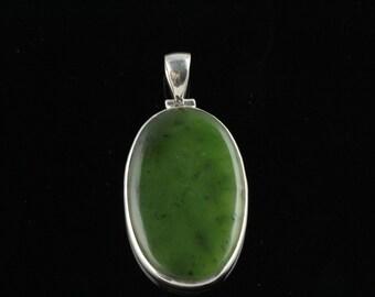 Large Long Oval Natural Jade Pendant Hand Bezel Set In Sterling Silver, Semi Precious Gemstone, Nephrite, BC Jade JN10