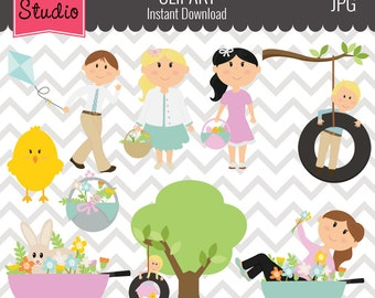 Easter Clipart // Easter Bunny Clipart // Chicks Clipart // Spring Clipart - EV137