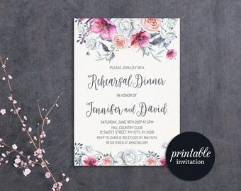 Floral Rehearsal Dinner Invitation, Wedding Rehearsal Invitation Printable, Purple Pink Rehearsal Invitation Spring Summer Wedding Invite