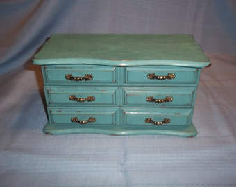 Green Shabby Chic Jewelry Box - BOHO