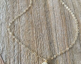 14k gold filled cz choker solitaire necklace tiny cz diamond cz choker cubic zirconia necklace minimalist jewelry bridesmaids necklaces gift