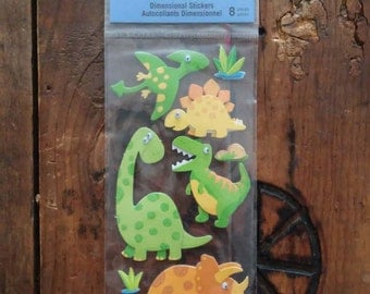 Recollections- Dinosaurs-  8 Dimensional Stickers W/ Googley Eyes- Brand New