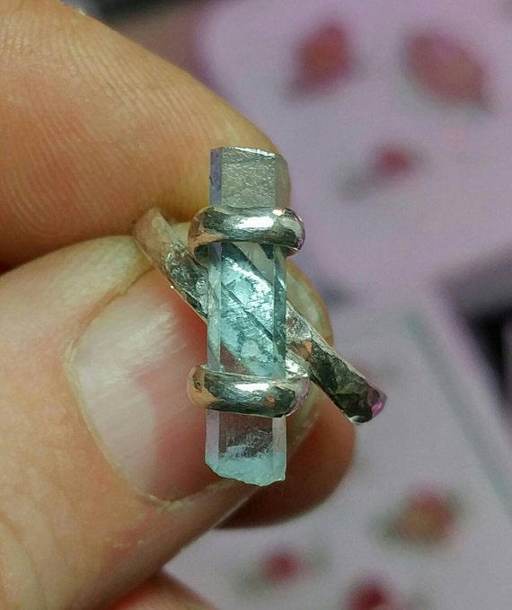 Aquamarine Crystal Ring | Silver Aquamarine Ring | Sterling Silver Ring Sz 7 | Raw Stone Ring | Raw Aquamarine Ring | March Birthstone Ring