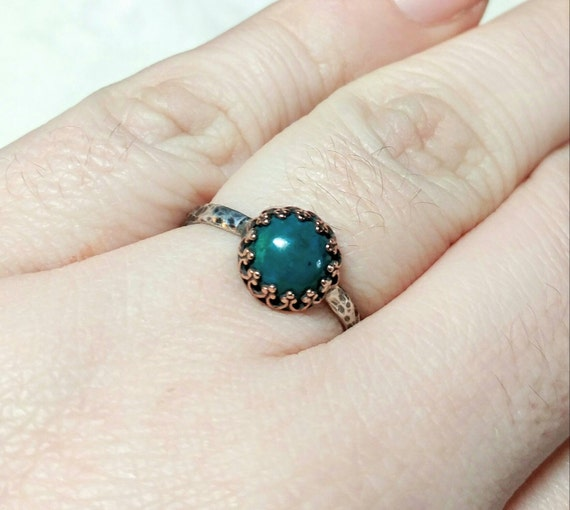 Victorian Blue Stone Ring | Mixed Metal Ring | Chrysocolla Ring | Sterling Silver Ring Sz 9.5 | Blue Green Gemstone Ring | Simple Stone Ring