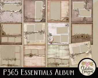 Digital Quick Page Album - Shabby P365 Essentials Digital Scrapbook Album - 12 Pre-Made Layout Pages