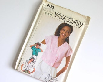 SIZE 10 12 14 7452 Simplicity Women's Crop Top Cropped Blouse Shirt UNCUT Sewing Pattern Vintage 1980s Eighties Misses Button Down Collar