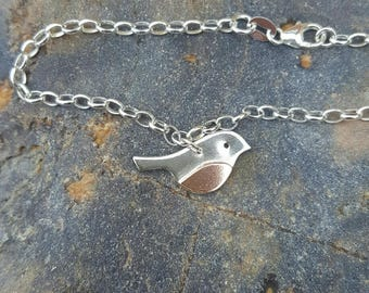 Handcrafted Sterling Silver 925 and Copper Robin Bracelet by Silverbird Designs