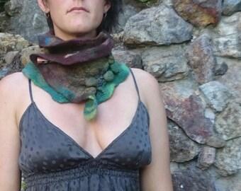 SALE Nuno felted scarf/cowl/neck warmer with shiboiri and iollite crystal detailing.  Hippie/woodland/earthy/boho