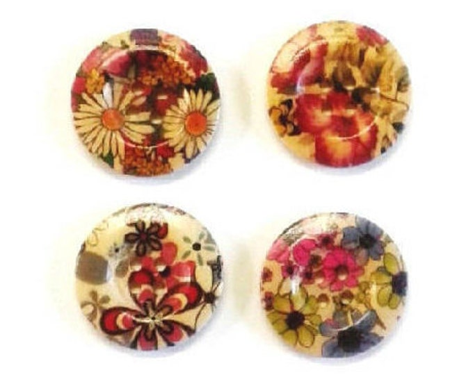 4 x 30mm Multicoloured 4 flower wooden buttons PACK 2