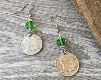 51st birthday gift for her, Rabbit hare earrings, 1966 Irish coin jewelry, Ireland, kelly green, harp, retirement, anniversary present woman