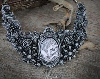 Cameo collar necklace bib necklace vintage necklace polymer clay necklace womens necklace rose necklace black silver necklace designer jewel