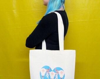 Cow Skull Tote Bag Canvas Tote Bag Hippy Boho Tote Bag Cow Skull Gift Native American Bag Cool Resuable Bag