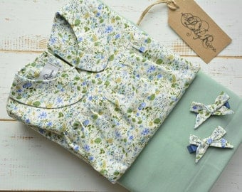 Girls Flower Blouse Long Sleeve Peter Pan Collar