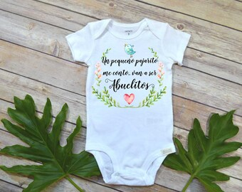 Spanish Pregnancy Reveal, Abuelitos, Baby Gift to Grandparents, Cute baby bodysuit, Cute Baby Gift, Spanish Baby Reveal to Parents,