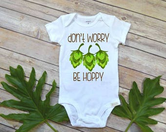 Daddy Pregnancy Reveal, Don't Worry Be Hoppy, Beer Shirt, Father's Day Gift, Funny Baby Gift, Baby Shower Gift, Home Brewed,Craft Beer Daddy